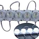 Rextin Super bright 20pcs High Power 1 LED Module with Big Lens 1.5W White 90-110LM Emitting Side Waterproof Decorative Light for Letter Sign Advertising Signs with Tape Adhesive Backside (20pcs)