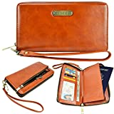 Passport Case, Travel Wallet, caseen® ARIA Fashion Leather Clutch Purse Wristlet (Brown) w/ Passport Holder, Credit Card ID Cash Pocket, Wrist Strap, Zipper Coin Holder