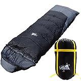 丸洗いOK White Seek 寝袋 シュラフ 封筒型 耐寒温度 -10℃ コンパクト収納 オールシーズン (ブラック)