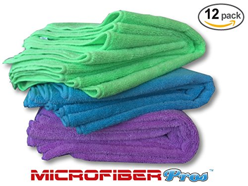 Microfiber Cleaning Cloths 12 Pack - Premium Large Soft 16x16 Washable Towels - Super Thick 350 GSM - Wash or Buff Surfaces, Screens, Car & Auto, Bath and Kitchen by MicrofiberPros (Rainbow) (Large Car Wash Towels compare prices)