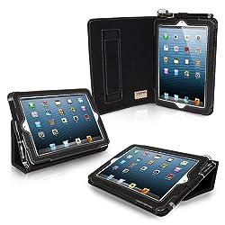 iPad Mini/Mini 2 Case, Snugg (Black) Leather Cover [Flip Stand] [Lifetime Guarantee] for Apple iPad Mini/Mini 2