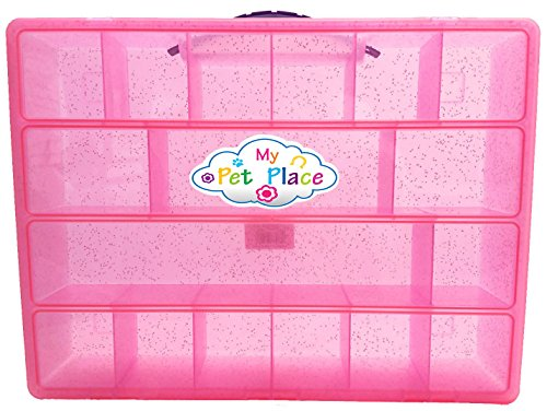 PINK GLITTER My Pet Place, Organizer for My Little Pony, Littlest Pet Shop, Shopkins, or Your Special Animal Collection, Storage for Small Favorite Toys, Sturdy, Lightweight Carrying Case