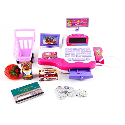 DeeXop Pretend Play Electronic Cash Register Toy for Kids (Real Cash Register With Scanner compare prices)
