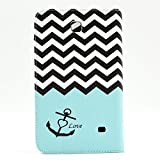 Galaxy Tab 4 7.0 SM-T230 Case, [Card Slots] Flip Premium Foldable New Book Style PU Leather Wallet Stand Case Smart Cover Skin Protection For Samsung Galaxy Tab 4 7.0 Inch SM-T230 T231 T235, (Galaxy Tab 4 7.0), Come with One Stylus - [Anchor Pattern Design]
