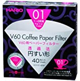 Hario VCF-01-40W 1-Piece Box of Paper Filter for 01 Dripper, White