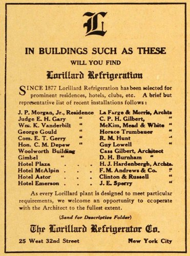 1915 Ad Lorillard Refrigerator Hotels Residences Installation Emerson McAlpin NY - Original Print Ad