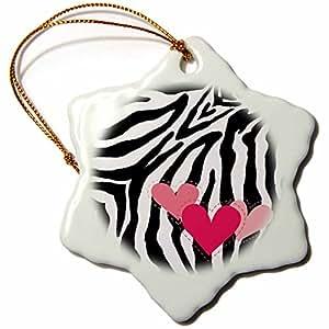 Patricia Sanders Pink Hearts Zebra Print Snowflake Porcelain Ornament, 3-Inch