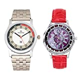 Luba Purple Dial Watch in Combo of Maxima Silver Dial Watch for Couples