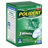 Polident 3 Minute Denture Cleanser, Antibacterial, Tablets, Triple Mint Freshness, 108 ct.