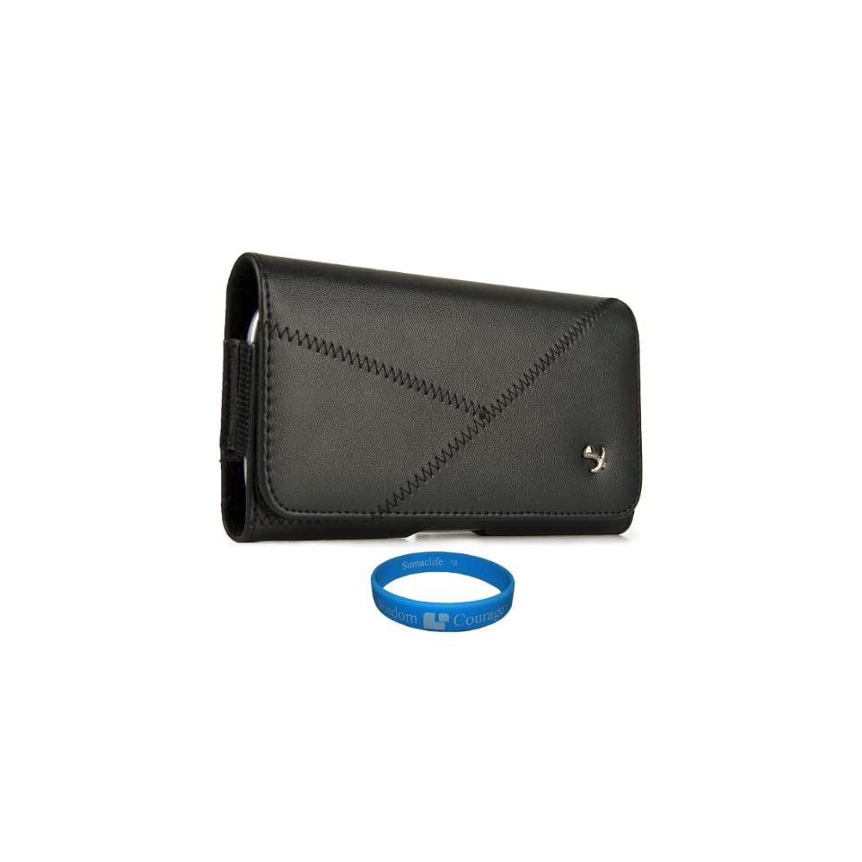 Black Faux Leatherette Executive edition Stitch Design Pouch Case with Belt Clip for Visual Land Phantom ME 907 Series HD Touch Screen Media Player + Smoke Argyle Premium TPU Skin Cover Case + SumacLife TM Wisdom Courage Wristband Computers & Accessor