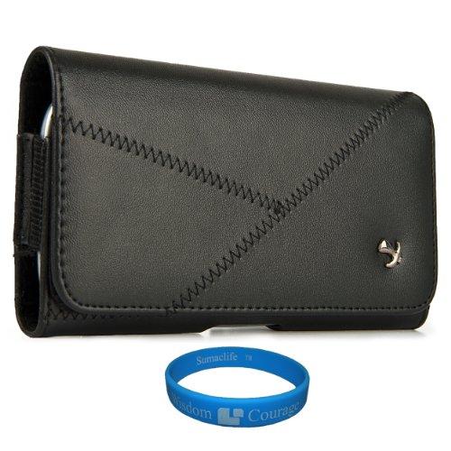 Black Elegant Intricate Stitching Design Executive Horizontal Holster Case (Sam336) For Samsung Galaxy Iv / S4 Android 4.2 Smartphone + Sumaclife Wisdom Courage Wristband
