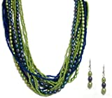 Pearlstone Sterling Silver 14 Strand Blue and Green Keshi and Rice Pearl Necklace and Earring Set
