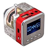 New Mini Speaker Portable Micro SD/TF Music MP3/4 Player USB Disk FM Radio Red