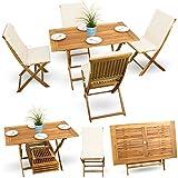 9-tlg-Balkonset-Terrassen-Set-Bistroset-Balkonmbel-Gartenstuhl-Holz-Gartenmbel-Akazie-gelt-4x-Klappstuhl-1x-Klappstuhl-4x-Sitz-Auflagen-creme-weiss
