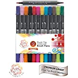 Watercolor Dual Brush Pen Set - Brush and Fine Tip Brush Markers. Great for manga, illustration or coloring(12)