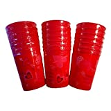 Valentines Day School Office Party Love in Red Bundle Disposable Plastic Cups (18 Ct)