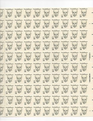 Sinclair Lewis Sheet of 100 x 14 Cent US Postage Stamps NEW Scot 1856