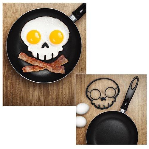 Non-Stick Silicone Egg Pancake Ring Skull (Black)
