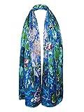 "Swhiteme Luxurious 100% Silk Charmeuse Long Scarf - Claude Monet's ""Water Lilies"""