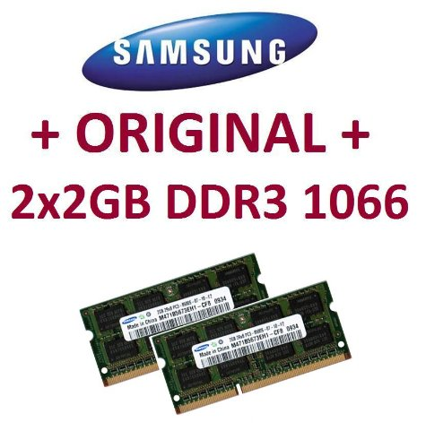 Dual Channel Kit: 2 x 2 GB = 4GB 204 pin DDR3-1066 SODIMM (1066Mhz, PC3-8500, CL7) 128Mx8x16 double side, 2 x M471B5673EH1-CF8, f&#252;r DDR3-NOTEBOOKs, MacBook, MacBook Pro, iMac, mac mini (2009 Versionen)