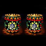 EarthenMetal Handcrafted Traditional Mosaic Design Decorated Tealight Holder (Candle Light Holder) - Set Of 2