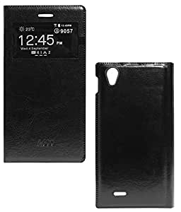 DMG Premium Leather Sview Flip Cover Case For Xolo A600 (Black)