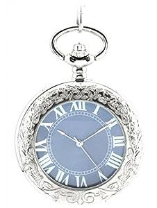 Infinite U Lupa Hueco Esqueleto Números Romanos Mano-viento Reloj de bolsillo mecánico Plateado marca Infinite U