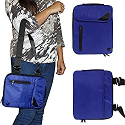 DMG Padwa Lifestyle Shockproof Soft Sleeve Carrying Vertical Messenger Nylon Bag Case with Handle and Shoulder Strap for Lenovo IdeaPad A10 59-388639 Slatebook (Blue)