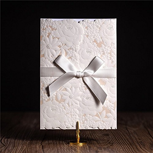 Wishmade 1X Laser Cut Wedding Invitations Cards Kit With Bowknot Card Stock For Engagement Birthday Party Baby Shower Bridal Shower Events CW5183