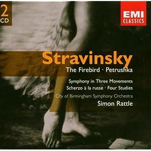 Stravinsky: Firebird Ballet, Petroushka Ballet, Symphony in 3 Movements, Scherzo a la Russe, 4 Studies; Sir Simon Rattle
