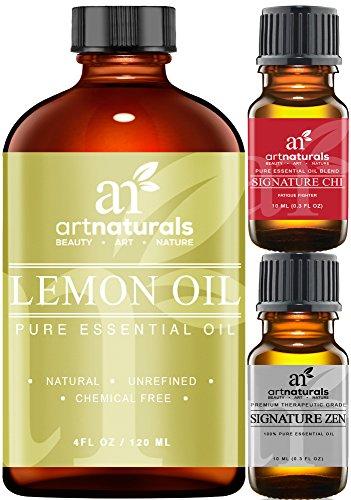 Art Naturals Lemon Essential Oil 4.0 oz 3pc Set - Includes Our Aromatherapy Signature Zen & Chi Blends 10ml Each Therapeutic Grade 100% Pure & Natural (Lemon Peel Oil compare prices)