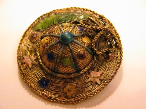 Vintage - Enameled SUN HAT Shaped PIN - Jewelry