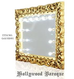lighted vanity broadway mirror gold hb401. Black Bedroom Furniture Sets. Home Design Ideas