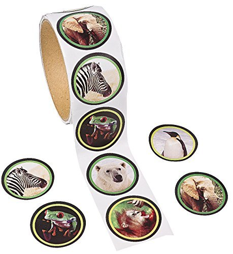 "Paper Wildlife Photo Roll of Stickers (100 Pack) 1 1/2"". Paper."