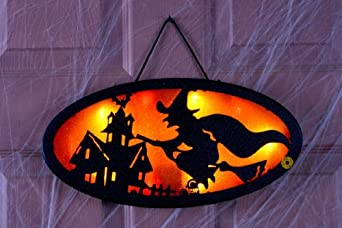 Orange Witch Glitter Greeter Sign