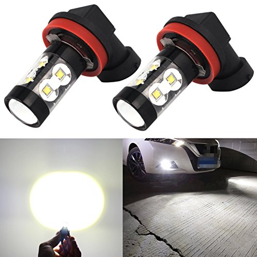 Alla Lighting 50W High Power CREE Super Bright 6000K Xenon White H11 H8 H16 Type 2 LED Bulbs for Fog Light Lamp Replacement (2012 Toyota 4runner Fog Lights compare prices)