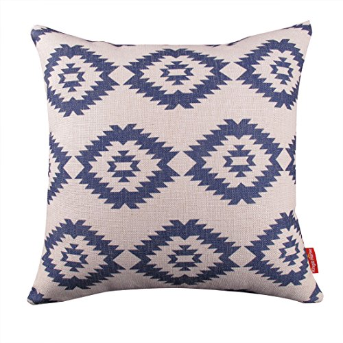 """Kingla Home Square Cotton Linen Decorative Throw Pillow Covers 18"""" X 18"""" Pillow Case navy Blue Modern Geometry Couch Cushion Covers"""