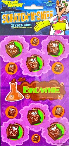 Dr Stinky's BROWNIE Scratch-and-Sniff Stickers, 2 sheets 4 x 6 3/4, 26 stickers