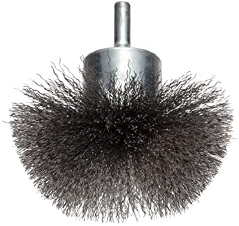 "Weiler Circular Flared Wire End Brush, Round Shank, Steel, Crimped Wire, 3"" Diameter, 0.008"" Wire Diameter, 1/4"" Shank, 16000 rpm (Pack of 1)"