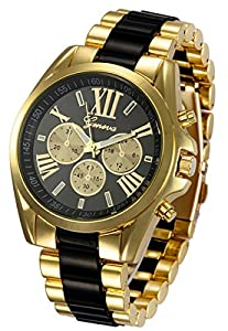 Mastop Roman Numeral Gold Plated Metal Nylon Link Analog Disply Watch (Black)