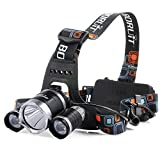 VicTec 5000Lumen CREE XM-L XML 3 x T6 LED Headlight Light Headlamp Head Lamp Flashlight For Kiking Camping Hunting Night Riding Caving Expedition Etc