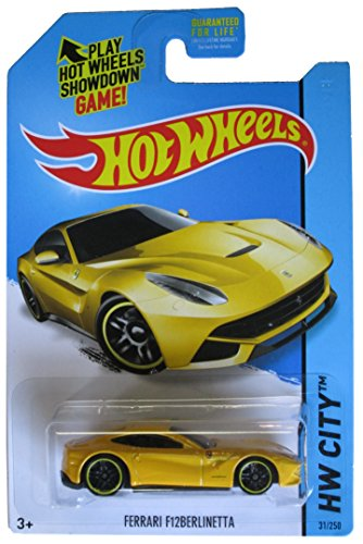 Hot Wheels 2014 HW City Ferrari F12 Berlinetta Yellow #31/250 - 1