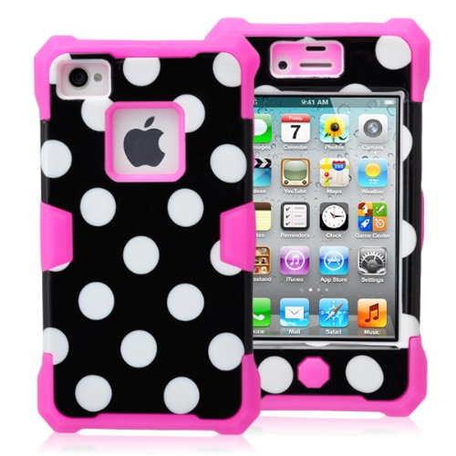 Magicsky Plastic + Silicone Hybrid Black Polka Dot Pattern Active Glow Case For Apple Iphone 4 4S 4G - 1 Pack - Retail Packaging - Hot Pink/Black