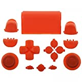 ElementDigital 15Pcs PS4 Replacement Shell Full Buttons, Thumbsticks Thumb Grip + D-pad For Sony Playstation 4 Controller (Orange) (Color: Orange)