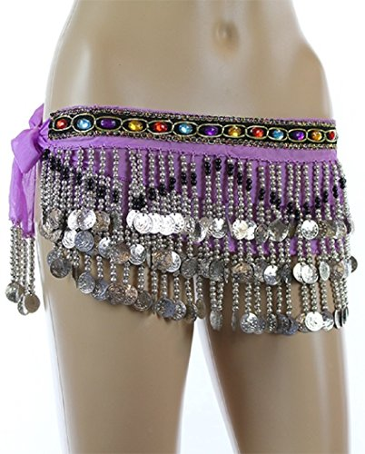 Lt Purple Silver Coins Beads Rave EDC Belly Dance Skirt Hip Scarf Costume 158 coins