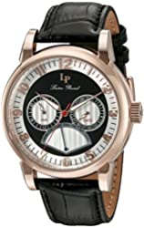 Lucien Piccard Men's 'Montana' Quartz Stainless Steel and Black Leather Casual Watch (Model: LP-15051-RG-02S)