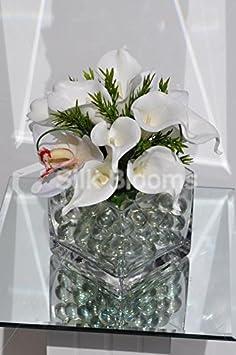Blanco Artificial Calla y Cymbidum orquídea mesa centro de mesa w/verdor