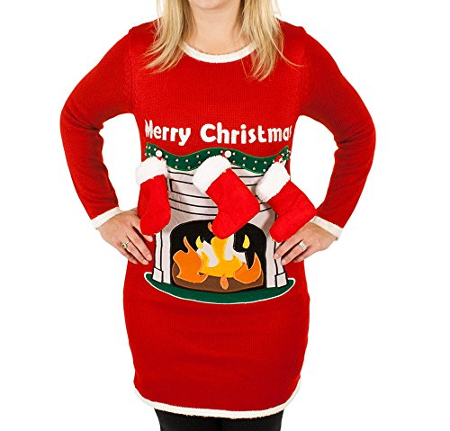 Womens-Fireplace-Lighted-Ugly-Christmas-Sweater-with-Stockings-in-Red