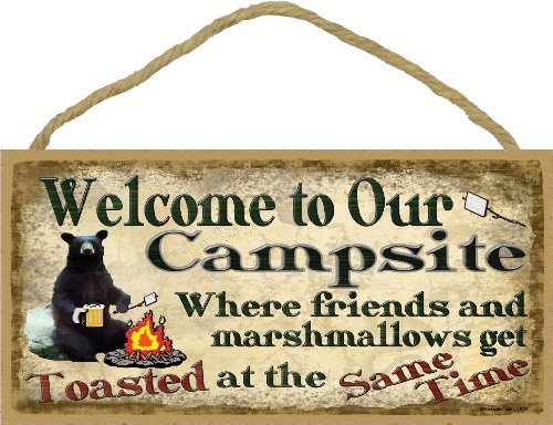Campsite Black Bear Where Friends & Marshmallows Get Toasted SIGN Camping WALL PLAQUE 5