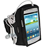 IGadgitz Black Neoprene Sports Gym Jogging Armband for Samsung Galaxy S3 III Mini I8190 Android Smartphone Mobile Phone (NOT SUITABLE FOR GALAXY S3 i9300)